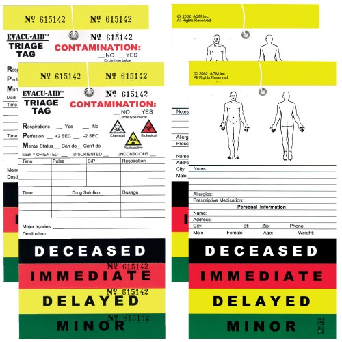 50 Pack Triage Tags Color Coded For Mass Casualty Triage